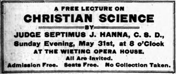 Early 1900s advertisement for a Christian Science lecture by Judge Septimus J. Hanna